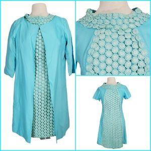 Vintage 60s Tiffany Blue Crochet Dress & Duster